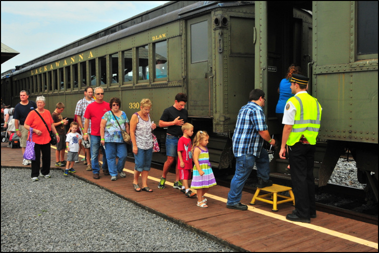 Visitors boarding the excursion train