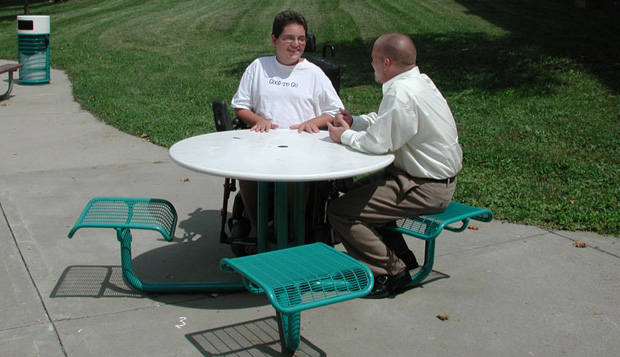Variety in picnic table design creates diverse seating opportunities.