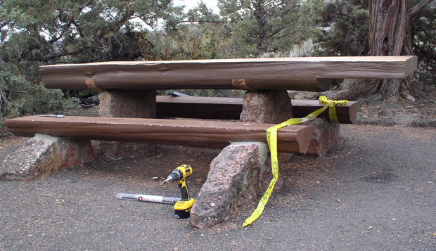 The park maintenance crew at Lava Beds National Monument restored the picnic table stone supports and installed a new extended top that is wheelchair accessible.