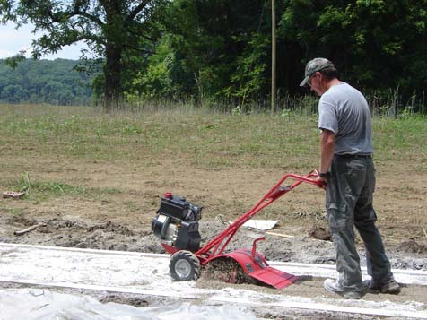 Soiltac Powder Mix-In is tilled into the 2 inch base of native soil.