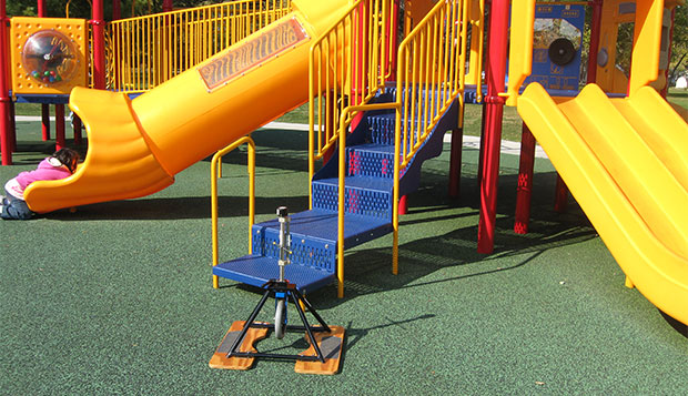Poured in place rubber (PIP) surface is used on this playground.