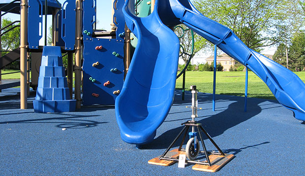 Poured in place rubber (PIP) is used at a location on the playground where no deficiencies exceeding the accessibility standards were recorded.