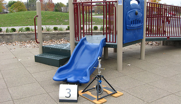 The egress of a slide was one of 9 pre-determined locations studied at each playground.